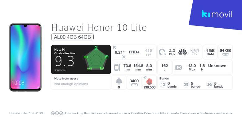 Huawei Honor 10 Lite: Precio, características y donde comprar