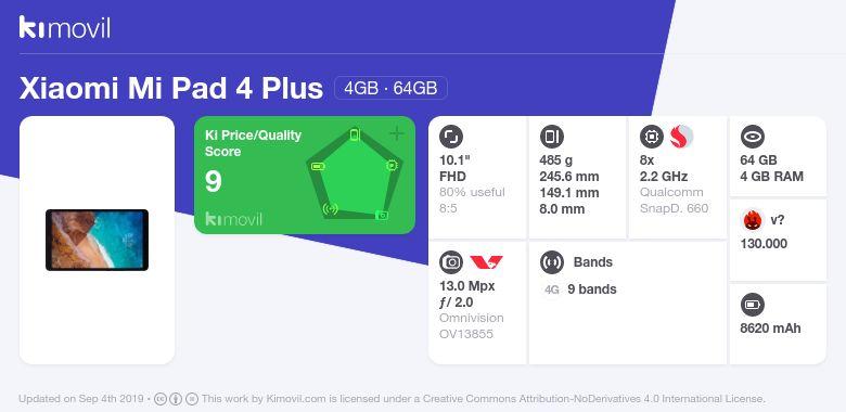 Xiaomi Mi Pad 4 Plus: Price, specs and best deals